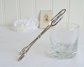 Relish tongs, vintage shabby serving tongs, chrome plate, please view all details