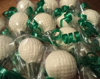 12 Golf Ball on Tee Stand Chocolate Lollipop Party Favors