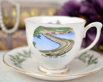 Queen Anne Teacup and Saucer Road to the Isle, English Bone China Tea Cup Set, Souvenir Teacup, ca. 1950