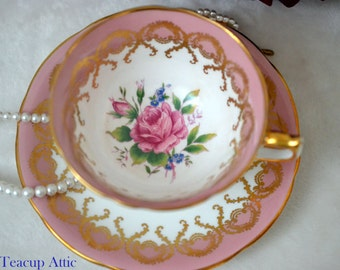 Aynsley Pink And White Teacup With Gold Trim And Pink Rose, English Bone China Teacup Duo, Wedding Gift, ca. 1960