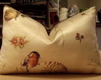 "One Scalamandre Sand ""BULLFINCH & NAUTILUS"" Silk Cotton Satin Print Custom Lumbar Pillow- Scalamandre""INDUS"" Velvet Back - 13"" by 19"""