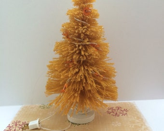 Vintage St Nick Gold Christmas Tree With Lights  13 Inch Gold Bottle Brush Tree  Christmas In July