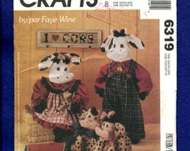 McCalls 6319 Country Cow Family Dolls & Doorstops Farm Chic Outfits Too  Sizes 29 - 11 inches tall UNCUT