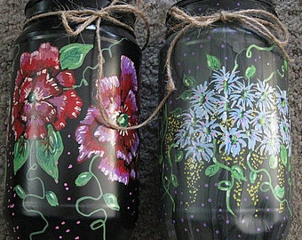 Country Jars tole painted with floral scene, recycled plastic peanut butter Jars for home decor and floral arrangements