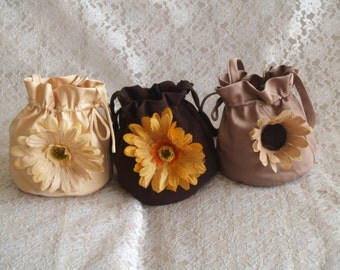Satin Pouches, Bridal Necessities Bag, Rustic Wedding Bag, Fall Money Bags, Outdoor Country Wedding, Chocolate Brown, Mocha, Sunflowers