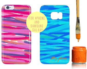 Turquoise Abstract iPhone 6 Plus Case Oil Paints iPhone 6s Case Monogram Samsung Galaxy s6 Case Pink Water Paints Pattern Galaxy s7 Edge Art