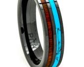 Hawaiian Koa Wood and Turquoise Inlay Black Ceramic Wedding Band For Men and Women 6mm