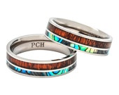 Titanium Hawaiian Koa Wood and Abalone Ring Comfort Fit 6mm Band