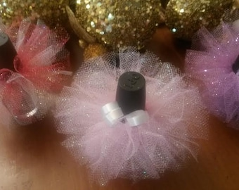 10 For 12.50 FREE shipping/ GLITTER Tulle/ Baby shower favors/ Engagement/Gender reavealing party favors/Baby shower /Weddings