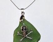 Frosted Green Sea Glass Silver Pirate (Skull & Crossbones) Pendant w/Chain