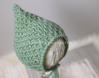 Newborn Bonnet: Newborn Photo Prop - Classic Newborn Bonnet, Baby Hat, Newborn Knit Bonnet, Crochet Bonnet, Merino Wool, Sage Green