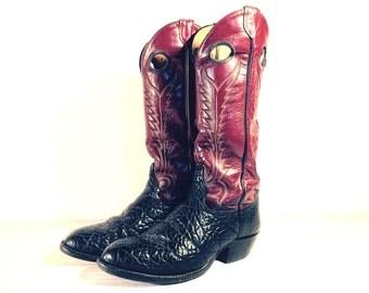 Vintage Cowboy Boots, Tony Lama Buckaroo Style, Black Bullhide & Maroon Leather, Men's size 8 D / Women 9.5