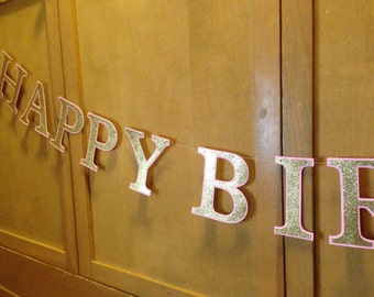 LARGE Glitter Gold and Pink HAPPY BIRTHDAY Banner