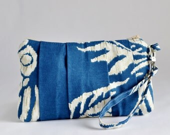 Pleated Wristlet Pouch Clutch  Navy Blue Ivory Makeup Bag Bridesmaid Gift Cotton Bag