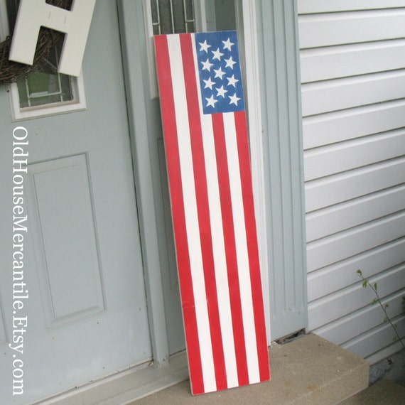 American Flag Porch Sign 12x48 Porch Front Door Painted