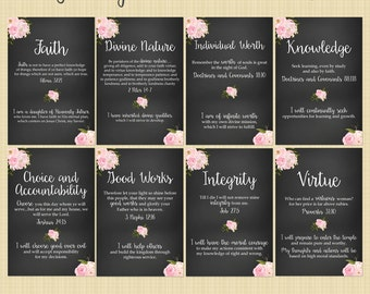 Young Women's Values, 4x6 or 8x10 inches (set of 8) - LDS Digital Download - Printable (Personal Progress floral+chalkboard)