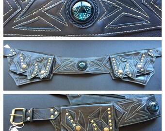 Black Leather Manzanita utility belt with sacred geomtry glass