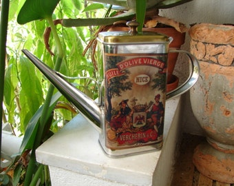vintage French olive oil tin, old kitchen tin with handle spout & lid,decorative french jug