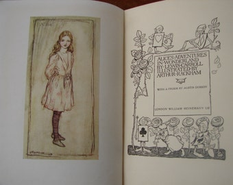antique Alice's adventures in Wonderland book, Arthur Rackham 13 color plates, Heinemann 1947 un-clipped dustjacket