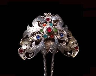 Vintage Indonesian Silver Hair Pin, Art Nouveau Filigree Glass Gem-Set Comb, Traditional Sumatran Bridal Hairpin, Love Token, Gift for Her