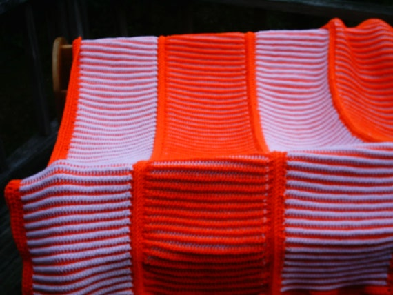 Crocheted Orange and White Lapghan