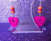 Earrings Hot Pink and Bright Orange Wooden Heart Dangle Dropper Pierced  by JulieDeeleyJewellery on Etsy