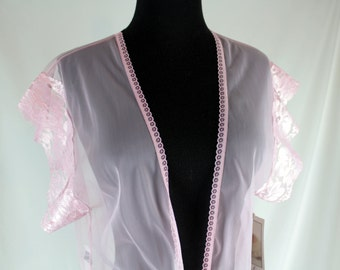 Vintage Alana Gale Sheer Pink Lace Bed Jacket Medium NOS