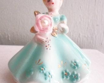 "Vintage Josef Originals June Pearl Birthstone Birthday Girl Doll Figurine 4"""