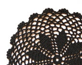 Round black Crochet doily, vintage hand dyed Doily, circle doily, Table decor, crochet centerpiece, Cotton Lace Doily, recycled
