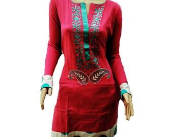 Personalized Gift for women silk flower kurta salwar kameez cotton summer outfit tribal fabric party favors wedding dress kurta pattern