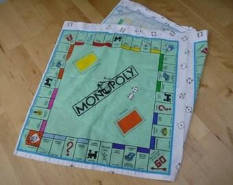 Vintage Monopoly Bandanna Handkerchief or Dish Towel