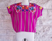 Sale Vintage Guatemalan Top Huipil Top Woven Mexican Top Small Neon Wide Shirt Embroidered 70s Ethnic Boho Poncho