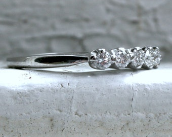 RESERVED - Sparkly Vintage 14K White Gold Diamond Shared Prong Set Wedding Band - 0.35ct.