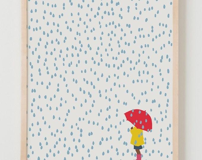 Fine Art Print. Girl with Umbrella in the Rain. April 2, 2016.