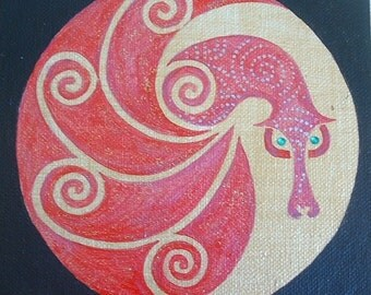 Dreaming Dragon Crimson Red 6 x 6 Acrylic on Canvas
