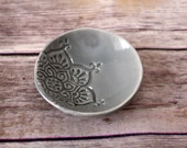 Ring Holder - Gray Trinket Dish, Handmade Ceramic Dish, made from scratch!  Boho pattern dish, gift under 10.  In stock and ready to ship!