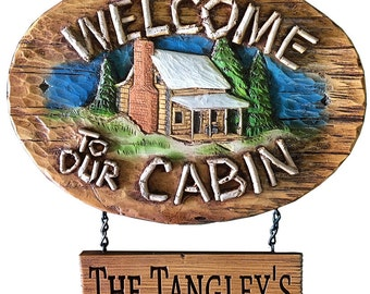 Cabin Welcome Sign Personalized with a carved hanging sign
