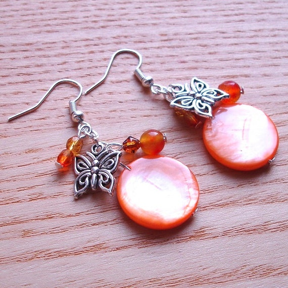 Orange Butterfly Cluster Earrings Summer Trends Unique Cute