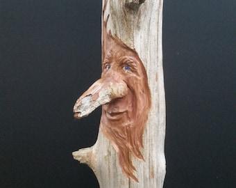 Red Cedar Wood Spirit Carving, Ugly Stick, Woodspirit, Fantasy, Fairytale, Art, Sculpture, Whimsical, Woodland, OOAK, Heartwood