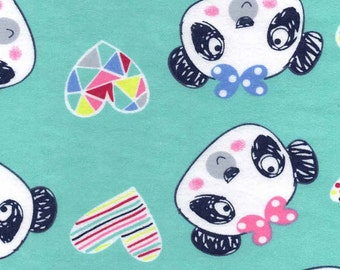 Snuggle Flannel Prints - Scribbled Pandas - Sold by the Yard