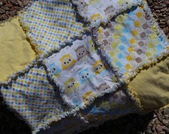 Baby Owl Rag Quilt