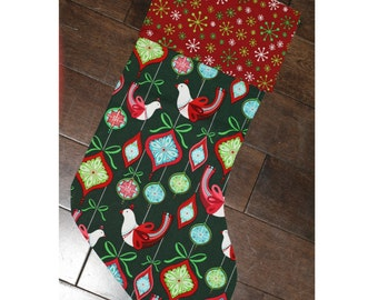 Christmas Stocking - Personalized Stocking - Fully Lined Cotton Stocking - Pink/Red Partridge Birds on Green