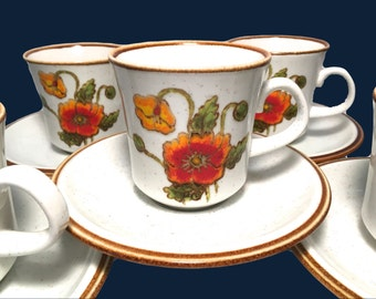 Mikasa Natural Beauty California Poppies Cups and Saucers 4 Available
