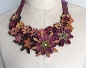Leather Flower Bib necklace