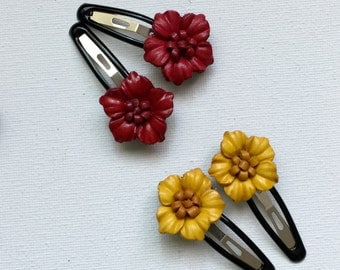 Mini Flower leather on Bendy Hair Clips