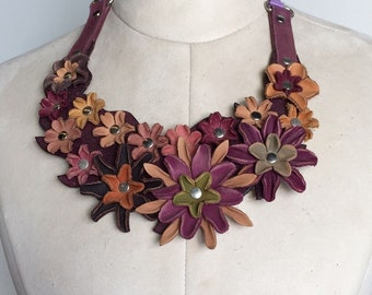 Leather Flower Bib necklace
