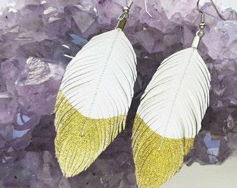 Feather Earrings,  White Earrings,  Faux Leather Earrings, Glitter Earrings, Bohemian Earrings, Leather Feather Earrings, Gold Earrings