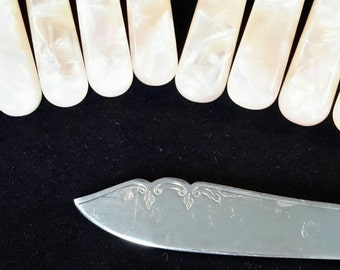 Reduced - Vintage Celluloid Handle Cutlery Set