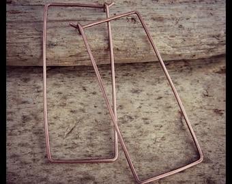 Copper Earrings - Rectangle Earrings - Minimalist - Rustic - Hoop Earrings - Hand Forged Copper Earrings