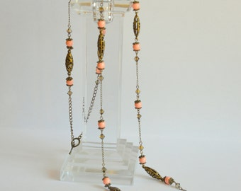 Vintage style coral bronze long Swarovski crystal and pearl necklace